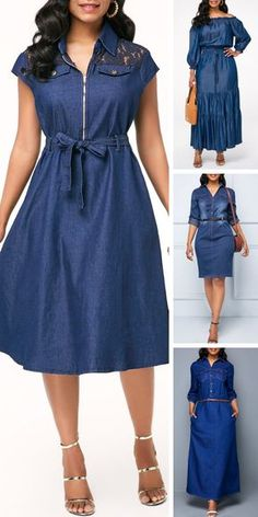 Clothes For Women In With Curves Wardrobes 33 Best Ideas Modest Dresses, Elegant Dresses, Cute Dresses, Casual Dresses, Trendy Dresses, Jean Dress Outfits, Clothes For Women In 30's, Denim Fashion, Fashion Outfits