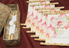Hibiscus Wedding Invitation Scrolls