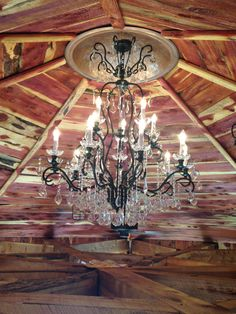 Rustic cedar ceiling, with a touch of class.