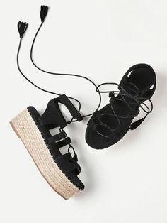 detailed look 587cb 7674c Black Summer Lace Up Espadrille Flatform Sandals With Tassel