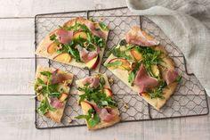 Peach and Prosciutto Flatbread with Balsamic-Arugula Salad | HelloFresh Recipe