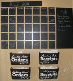Large Chalkboard calendar vinyl wall decal sticker Monthly Blackboard with memo area. Chalkboard Wall Calendars, Chalkboard Vinyl, Large Chalkboard, Family Calendar, Calendar Wall, Calendar Ideas, Family Command Center, Family Planning, Make It Work