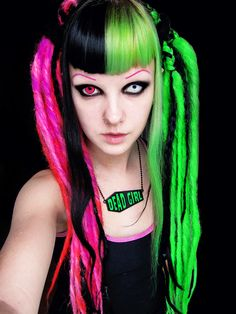 Monster by Psychara | She did an amazing job on her dreads and I love the colors used #pink #green