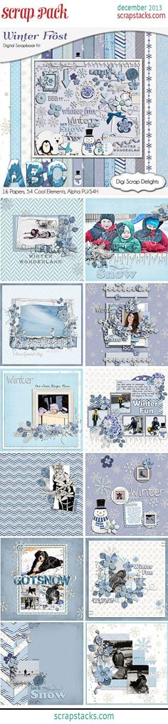 Digi Scrap Delights, Robin Sampson, featured Designer on ScrapStack #Blue #White #snow