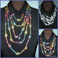 Dress up any outfit with this Pretty Puff Stitch Necklace. The bright yarn used to work up this crocheted necklace will certainly add a pop of color to any outfit. Being made out of yarn instead of beads, this crochet necklace is much lighter to wear