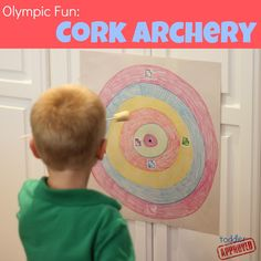 Toddler Approved!: Olympic Fun: Cork Archery paint and letter learning / alphabet activity! Use diy paint arrows (baby & kid - toys & games board)