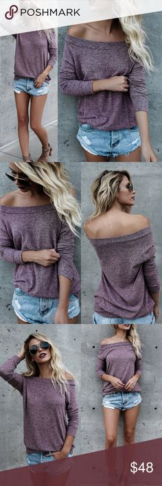 Softest Sweater Top Softest Sweater Top Available in Heather Grey, Charcoal & Eggplant  Can be worn off the shoulder, one shoulder or on shoulders ~ Style 3 Different ways! No Trades Price Is Firm Glamvault Tops