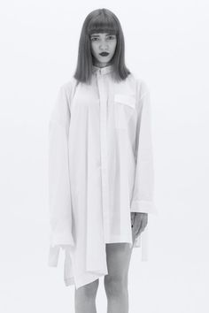 LUDUS - white cotton asymmetric shirt