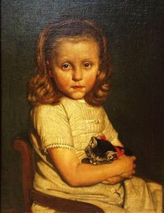 Jacobus van Looy (Dutch, 1855-1930) - Portrait of Cor, 5 Years old (19th century) - Oil on panel
