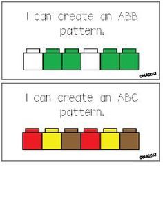 For D/Busy Box: Use Legos to make Pattern task cards-- freebie Patterning Kindergarten, Preschool Math, Math Classroom, Kindergarten Math, Fun Math, Teaching Math, Math Activities, Classroom Decor, Teaching Shapes