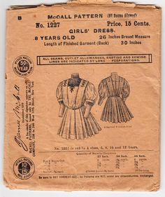 Vintage Sewing Pattern Early McCall 1227 Girl's Dress Size 8 yrs Old FF - Free Pattern Grading E-book Included Childrens Sewing Patterns, Mccalls Patterns, Vintage Sewing Patterns, Girls Dresses Size 8, Pattern Grading, Clothes Crafts, Pattern Paper, Vintage Children, Pattern Fashion