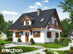 Dom w poziomkach 3 (P) Village House Design, Bungalow House Design, Village Houses, Small House Design, Modern House Design, Play Houses, Casas Country, Modern House Facades, Loft Design