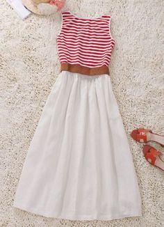 Red and White Striped Cotton Dress - Give me a brown jacket and some boots to go with it and I'm in love.