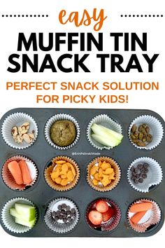 This muffin tin snack tray is the best healthy snack idea for picky eaters! Just put a bunch of different options and let them grab what they want to eat. Healthy Family Meals, Good Healthy Snacks, Easy Snacks, Healthy Options, Kids Meals, Weight Watchers Snacks, Kid Friendly Dinner, Picky Eaters, Lunch Recipes