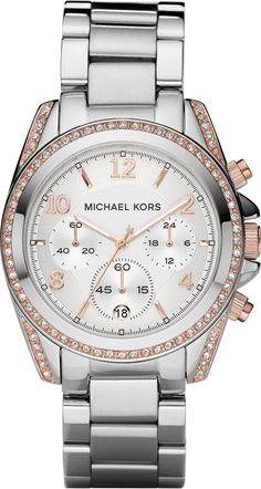 Michael Kors Watch , Michael Kors Womens #MK5459 Blair Silver  Rose Gold Watch