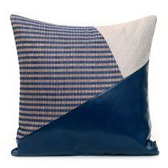兿品|蓝色不规则拼皮革抱枕|现代简约风格几何图案拼接房地产软装-淘宝网