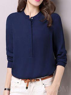 Ericdress informal color sólido blusa de la gasa Blusas