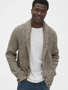 Look good in cooler temperatures in Gap sweaters for men. Shop men's sweaters and you're sure to upgrade your knits. Mens Shawl Collar Cardigan, Sweater Cardigan, Men Sweater, Fashion Hashtags, Cardigan Outfits, Baby Kids Clothes, Work Clothes, Models, Stylish Men