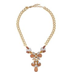 Greenbeads by Emily & Ashley Rhinestone & Cabochon Sautoir Necklace ($46) ❤ liked on Polyvore featuring jewelry, necklaces, pink, chain link jewelry, pink chain necklace, rhinestone necklace, pink jewelry and chain jewelry