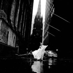 NYC, 1958. Betsy Pickering models a gown on Wall Street // Photo by Jerry Schatzberg. @Nick Goodey