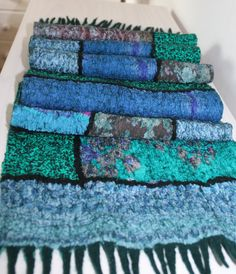 Patchwork blue and green nuno felt scarf / by LidiaFeltBoutique