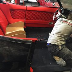 convertible black with red interior, fesler, So much.... djdesigns door panels chevelle honeycomb stitching aluminum