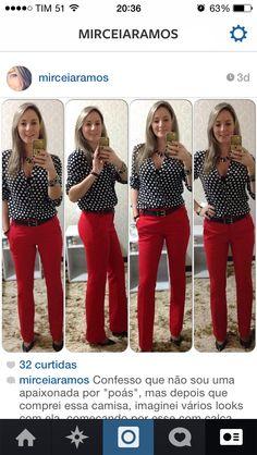 Look de trabalho - camisa poá e calça vermelha