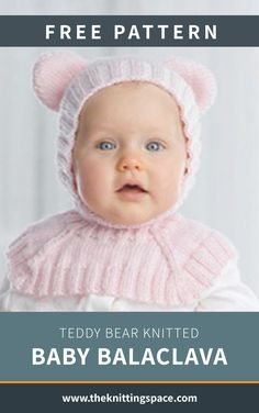 This Teddy Bear knitted baby balaclava will keep your child warm and even more irresistibly adorable! Crochet Baby Cardigan Free Pattern, Baby Sweater Patterns, Crochet Baby Shoes, Knitted Baby, Baby Knits, Baby Hats Knitting, Free Knitting, Winter Knitting Patterns, Patons Yarn