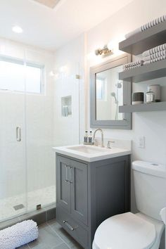 white bathroom Small but mighty gray and white bathroom with custom vanity and simple design bathroom ideas gray Our Home: Bathroom Transformation - Kuzaks Closet Ideas Baños, Decor Ideas, Decorating Ideas, Tile Ideas, Interior Decorating, Decorating Kitchen, Diy Interior, Luxury Interior, Simple Bathroom Designs