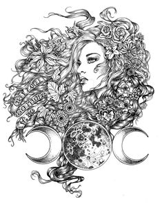 This drawing is a representation of the triple moon goddess. The seasons are reflected throughout her hair - Autumn leaves, Spring and Summer flowers an. Goddess - The Seasons Symbol Tattoos, Wiccan Tattoos, Body Art Tattoos, Tattoo Drawings, Art Drawings, Tatoos, Adult Coloring Pages, Colouring Pages, Coloring Books
