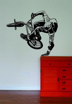 Decals Vinyl Stickers BMX Biker Sports Decal Sticker Bedroom Living Room Wall Vinyl Art Home Decor Teen Nursery Sports Bike Bicycle Fast Delivery Made in USA Bmx, Vinyl Wall Decals, Wall Stickers, Vinyl Dekor, Boy Room, Kids Room, Sports Decals, Sports Extrêmes, Sports Wall