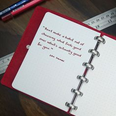 """""""Don't make a habit out of choosing what feels good over what's actually good for you"""" - Eric Thomas . This is the bold A6 Red Chilli & Crimson notebook. . #BecauseWritingHelps #WilliamHannahUK #InspiringQuotes #writtenword #Stationery #Quote #Handwriting #handwritten #notebook #writing #leathernotebook #leatherjournal #habits #ericthomas"""