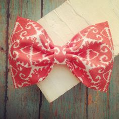 Aztec fabric hair bow coral orange white rockabilly by SplendidBee, $5.00