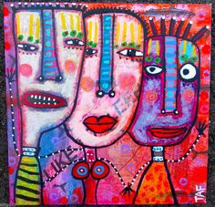 Tracey Ann Finley Original Outsider Raw Folk Collage Painting HAPPY LITLE FAMILY #OutsiderArt