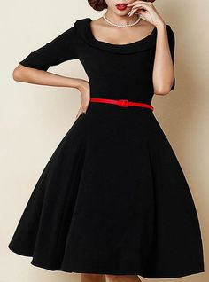 Retro Style Scoop Neck 1/2 Sleeve Solid Color Ball Gown Dress For Women