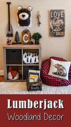 I love this woodland lumberjack theme kids room decor! We are a hunting/fishing nature family and I want to incorporate all of that in our home decor. I adore buffalo plaid, and red, black and grey are the colors what I'm looking for. So, this would be perfect! #lumberjack #woodland #buffalo #plaid #nursery #kidsroom #wallart #etsy #ad