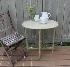 The Black Sheep Shoppe: Vintage Mother's Day Table. Painted in Versailles and Country Grey (Annie Sloan Chalk Paint).