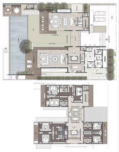 Luxury House Plans, Dream House Plans, House Floor Plans, Modern Architecture House, Architecture Plan, Home Design Plans, Plan Design, Large Floor Plans, Villa Plan