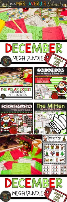 These Christmas themed activities for kids are perfect for literacy and math centers, morning work, and so much more during December. Click to discover the ease of incorporating these no prep/low prep activities for The Mitten, The Polar Express, December writing prompts and word work activities into your ELA, reading, and math lesson plans!