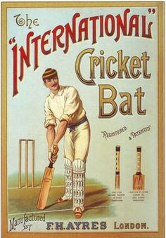 Loving this vintage cricket poster. International cricket bat, anyone? Cricket Poster, Cricket Bat, Cricket Sport, Ashes Cricket, Custom Posters, Vintage Posters, Workout Posters, Sports Art, Sports Posters