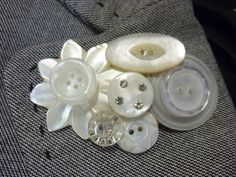 White Vintage button brooch. by SensibleSisters on Etsy, $7.00