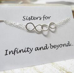 Sisters Infinity Bracelet & Card SET, Double Infinity, Sister Gift, Figure Eight, Bridesmaids Party, Bridal Jewelry, Friendship Bracelet