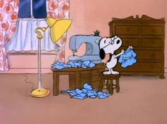 Snoopy almost instantly sews the dress into a top-notch skating outfit - She's a Good Skate, Charlie Brown, 1980