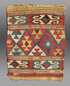 Vintage Antique Shahsevan Flat Woven Bag Face by tcEclecticImages