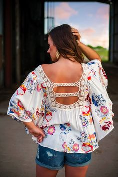 Floral and crochet flare sleeve top!! Love!!