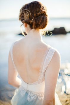 Elegant Kate McDonald Bridal wedding gown: Photography : Rachel Buckley Weddings Read More on SMP: http://www.stylemepretty.com/new-hampshire-weddings/new-castle-new-hampshire/2016/08/31/to-someone-beautiful-far-away-inspiration-shoot/