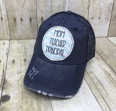 6f54941584df3 Homeschool Mom Teacher Principal Embroidered Mint and White Chevron Raggy  Patch Distressed Navy Trucker Hat Cap
