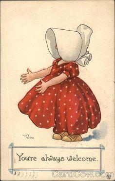 Sunbonnet Girl Wearing a Red Dress Sunbonnet Babies