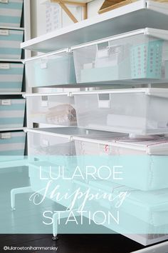 Today I'm sharing how I've transformed my office into a LuLaRoe boutique and how I've set up a home based business shipping station. Home Business Organization, Business Storage, Office Organization At Work, Office Ideas, Organization Ideas, Lula Rooms, Small Office Storage, Modern Office Design, Home Office Decor