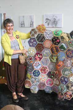 Like Padded Hexagons. Bigger. Crazy Quilt style